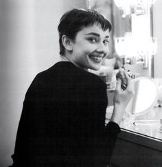 Audrey Hepburn in her dressing room at the 46th Street Theater, just before the 1954 Academy Awards.  DATE PHOTOGRAPHED  March 25, 1954  LOCATION  New York, New York, USA