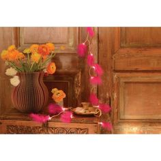 Guirlande Lumineuse Plume Rose Floral Wreath, Decor, Home Decor, Wreaths