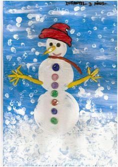 El cuerpo del muñeco lo hicimos con tapones de plástico de diferentes tamaños. Lo vestimos con plastilina, la nieve con la yema de dos dedos, le echamos cola blanca por encima que tiene el mismo efecto que el alkil y resulta más vistosa y económica.