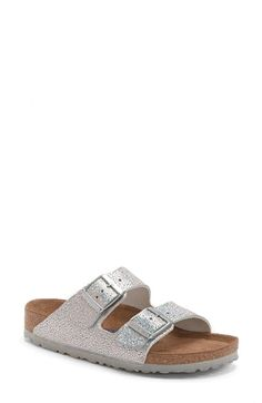 Birkenstock 'Arizona' Soft Footbed Textured Leather Sandal (Women) available at Nordstrom. Birkenstock Sandals Outfit, Birkenstocks, Women's Sandals, Silver Slippers, Summer Shoes, Summer Clothes, Birkenstock Arizona, Shoe Game, Sandals