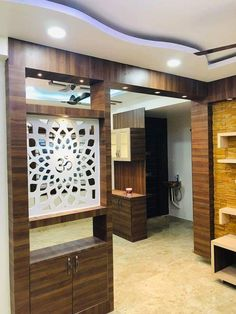 Open stairs decoration living rooms 60 ideas for 2019 Glass Partition Designs, Living Room Partition Design, Pooja Room Door Design, Living Room Tv Unit Designs, Panneau Mural 3d, False Ceiling Living Room, Hall Interior, Stair Decor, Kitchen Room Design