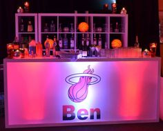 LED Lighted Bar - Miami Heat Basketball Themed Bar Mitzvah - LED Glowing Teen Lounge Area - Floral Arrangements for Adults - Red & Black Color Scheme - Party Perfect Boca Raton, FL 561-994-8833