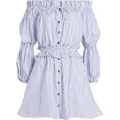 Caroline Constas Striped Cotton Off-Shoulder Dress (62475 RSD) ❤ liked on Polyvore featuring dresses, stripes, striped off the shoulder dress, smocked dresses, off the shoulder mini dress, off the shoulder dress and striped cotton dress