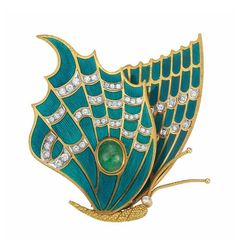 Gold, Blue Guilloche Enamel, Diamond and Cabochon Emerald Butterfly Clip-Brooch, Tiffany & Co., France.