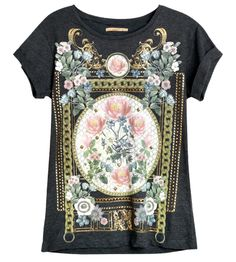 Gray T-shirt With Retro Baroque Print