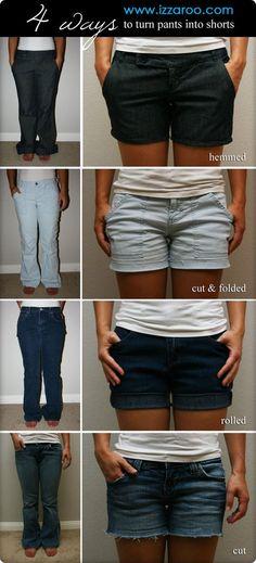 DIY - 4 Ways to Turn Pants into Shorts Tutorial