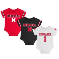 Newborn & Infant Colosseum Scarlet/White/Black Nebraska Cornhuskers Game Day 3-Pack Bodysuit Set