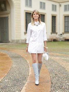Helena Bordon's Best Street Style Outfits - White shirt dress, vintage statement necklace, + knee-high boots