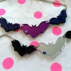 Batty Necklace in Black or Purple by imyourpresent on Etsy
