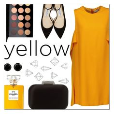 """In La La Land: Yellow Dress"" by feshene ❤ liked on Polyvore featuring Umbra, Jimmy Choo, MSGM, MAC Cosmetics and Chanel"
