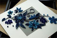 cuadro flores en azul