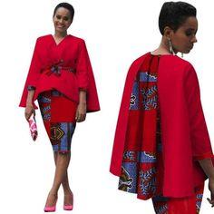 Africa Style Women African Clothing/ 2 Piece Set Dress Suit for Women Tops Jacket and Print Skirt Clothing African Fashion Designers, African Print Fashion, Africa Fashion, African Fashion Dresses, African Attire, African Dress, African Clothes, Xhosa Attire, Ankara Dress