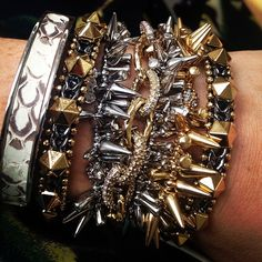 Snakeskin, and studs, and spikes, oh my! #SDarmparty with Stella & Dot Emerson Bangle, Artemis Cuffs, Christina Link Bracelet, and Renegade Cluster Bracelets