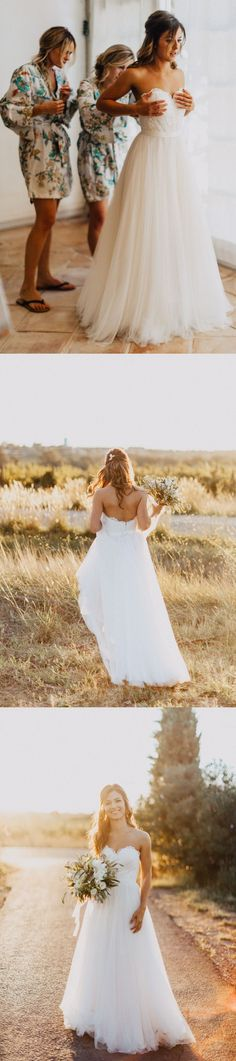 love this strapless long white wedding dress so much