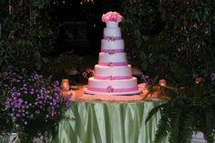 pretty flower bouquet cake /// #cake #flower #pink #ribbon #white #bouquet #eventuresinc