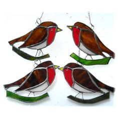 Robin suncatcher stained glass 13.00 Stained Glass Christmas, Christmas Bird, All Robins, British Wildlife, Suncatchers, Home Crafts, I Shop, Things To Come, Handmade Crafts