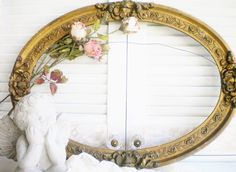 Beautiful Antique Frame Large Wood Ornate Picture Frame Gold For Rustic Wedding Shabby Chic Decor Wall Decor Photo Prop Refinishing Project by MyVingtique on Etsy