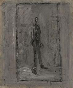 Homme debout, hombre de pie o derecho. Alberto Giacometti (1901-1966)  Homme debout  signed 'Alberto Giacometti' (lower right)  oil on canvas   (54.6 x 45.7 cm.)  Painted circa 1950