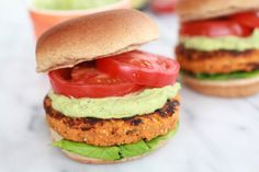 Roasted Garlic Chipotle Cheddar Sweet Potato Burgers with Avocado Ranch - Half Baked Harvest