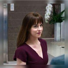 Pretty Anastasia Steele  / plum dress / Fifty Shades Of Grey / movie / Dakota Johnson