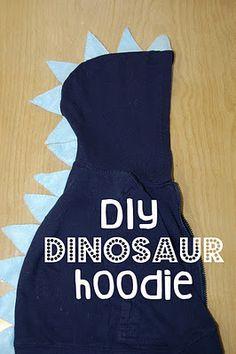 DIY dinosaur hoodie (rawwwr!) si