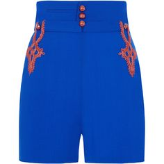 La Perla Daily Looks Hot Blue And Bronze Stretch Wool Shorts With... ($295) ❤ liked on Polyvore featuring shorts, intimates, highwaist shorts, military shorts, woven shorts, high rise shorts and high-rise shorts