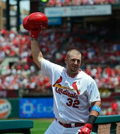 Matt Adams salutes the fans after hitting a two run home run during the second inning against the Nationals at Busch Stadium. Cards won the game 5-2. 6-15-14