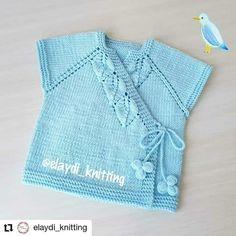 Blusa oriental de bebé en color azul tejido a dos agujas Baby Knitting Patterns, Knitting For Kids, Knit Vest, Sweaters, Baby Jackets, Color Azul, Tulum, Ideas, Fashion