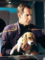 Star Trek Captain of Enterprise and his dog