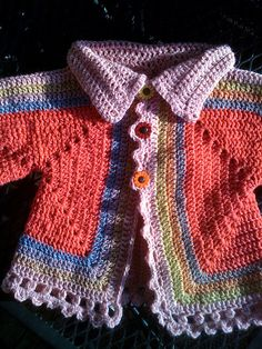 "hexagonal baby sweater - free pattern on Ravelry. Click on ""visit"""