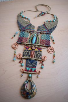 Oriental style Necklace OOAK necklace Macrame necklace | Etsy Collar Macrame, Macrame Colar, Macrame Necklace, Tribal Necklace, Macrame Jewelry, Macrame Knots, Chevron Friendship Bracelets, Friendship Bracelets Tutorial, Bracelet Tutorial
