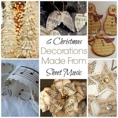 6 Christmas Decorations Made From Sheet Music - - Sheet music can add a certain touch of elegance to your decor, and these 6 decorations would be a wonderful addition to your Christmas decorating. Take a look through our list and see if there are…. Sheet Music Ornaments, Music Christmas Ornaments, Victorian Christmas Decorations, Sheet Music Crafts, Sheet Music Art, Paper Ornaments, Christmas Art, Christmas Ideas, Cabin Christmas