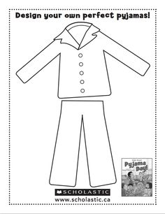 Pajama Coloring Page - Coloring Pages for Kids and for . - free printable pajama coloring pages Llama Llama Books, Llama Llama Red Pajama, Pajama Party Kids, Pyjamas Party, Daycare Crafts, Toddler Crafts, Daycare Ideas, Kids Crafts, Pyjama-party Kinder