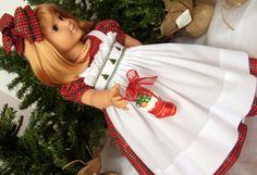 "A Special Request For A Friend of The Dressmaker's Dreams... ""O Tannenbaum""...American Girl Ensemble With Hand Smocked Dress and Pinafore"