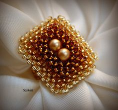 Gold/Honey/Brown Pearl/Seed Bead Cocktail Ring by Szikati on Etsy