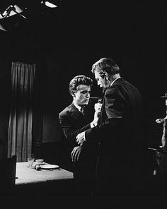 """James Dean and Raymond Massey in """"East of Eden."""" The devastating scene. Hollywood Actor, Golden Age Of Hollywood, Vintage Hollywood, Hollywood Glamour, James Dean Pictures, Raymond Massey, East Of Eden, Jimmy Dean, Old Movie Stars"""
