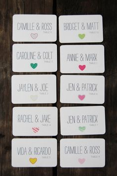 escort card ideas - hearts (by the ruffly owl)