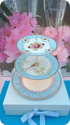 Pip Studios blue bird cake stand