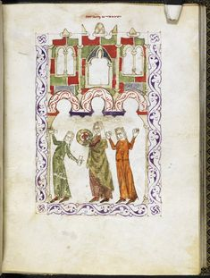 """""""Miriam's dance"""". Full-page miniature of Miriam and the Israelite women dancing. Oriental 2737, f. 86v. Haggadah for Passover (the 'Hispano-Moresque Haggadah') Spain, Central (Castile); Last quarter of the 13th century or 1st quarter of the 14th century, c. 1300."""