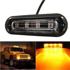 12.08$  Watch now - http://ali34t.shopchina.info/go.php?t=32605655117 - CREK DC 12-24V 4 LED Waterproof Car Truck Strobe Flash Warning Light Side Maker Light Amber  #buyonlinewebsite