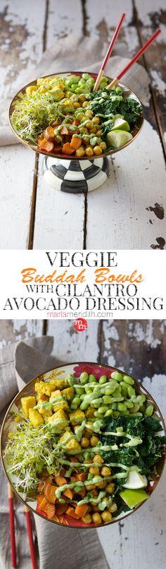 Veggie Buddha Bowls with Cilantro Avocado Dressing recipe | MarlaMeridith.com ( @marlameridith )