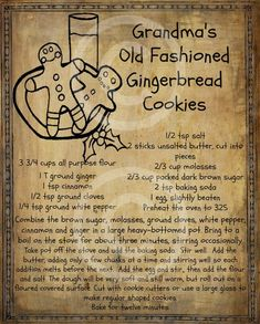 Primitive Gingerbread Man Cookie Recipe Pantry Logo Label Jpeg Digital File for Crock Jar, Labels, Pillows, Doll - Yummy Recipes Retro Recipes, Old Recipes, Vintage Recipes, Cookie Recipes, Dessert Recipes, Ginger Bread Cookies Recipe, Ginger Cookies, Thai Recipes, Crack Crackers