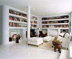 living room, built in bookshelves, curvy, organic, white, modern