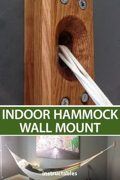camp astuces This simple wall mount design will allow you to hang a hammock indoors. Great for apartments and city living. Woodworking Plans, Woodworking Projects, Woodworking Software, Woodworking For Kids, Woodworking Magazine, Indoor Hammock, Hammock In Bedroom, Home And Living, City Living