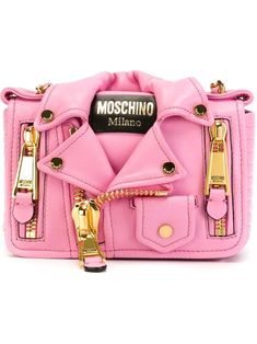 Pink calf leather biker cross body bag from Moschino featuring a foldover top with magnetic closure, gold-tone hardware and a chain and leather strap. Chain Shoulder Bag, Crossbody Shoulder Bag, Shoulder Handbags, Leather Shoulder Bag, Crossbody Bag, Shoulder Bags, Calf Leather, Pink Handbags, Purses And Handbags