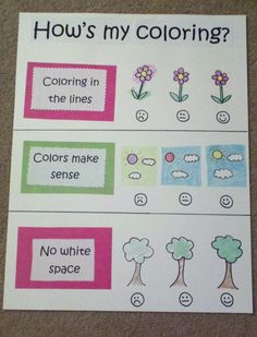 """Kinder Kreativity - Kindergarten-Friendly Coloring Rubric  Can I just say how ridiculous this is? Kids color to express their creativity! Who are we to tell them to color in the lines, use """"the right color"""", or don't leave any white space?? So that they can be just like everyone else??"""