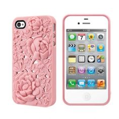 3D Case For iPhone 4 4S With Gorgeous Flower Retro Carving Style Back Cover Pink - Slickfans.com
