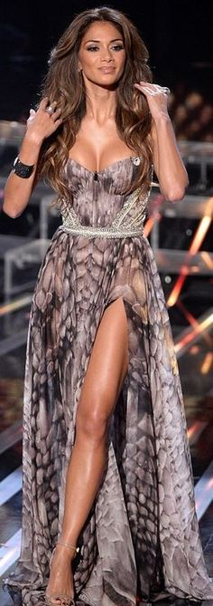 Who made  Nicole Scherzinger's sweetheart strapless gown and nude ankle strap…