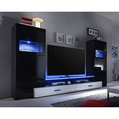 Ebay Angebot Wohnwand Cave Schwarz Hochglanz Weiß Mit LED Anbauwand  Wohnzimmer WohnkombiIhr QuickBerater