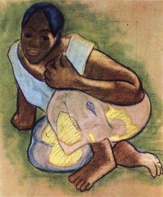 GAUGUIN, Paul Crouching Tahitian Girl c. 1892